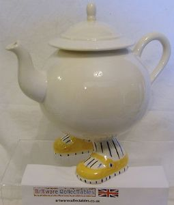 Carlton Ware Walking Ware Tea Pot - Yellow Shoes with Blue Striped Socks - SOLD